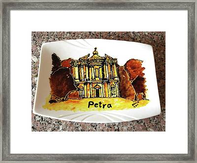 Jordan Tourism Hand Painting Petra Framed Print by Dima Anabtawi
