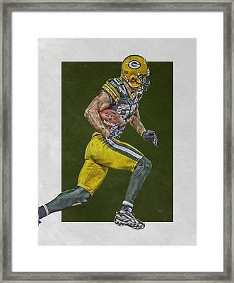 Jordy Nelson Green Bay Packers Art Framed Print by Joe Hamilton