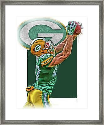 Jordy Nelson Green Bay Packers Oil Art Framed Print