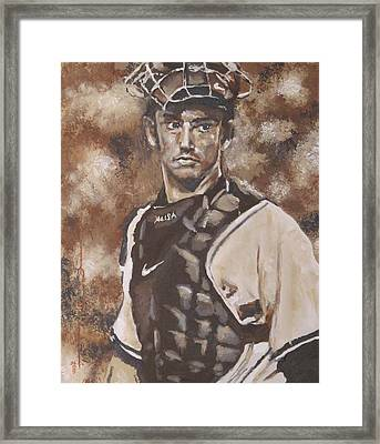 Jorge Posada New York Yankees Framed Print by Eric Dee