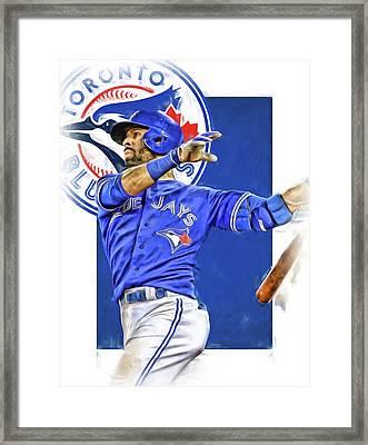 Jose Bautista Toronto Blue Jays Oil Art Framed Print by Joe Hamilton