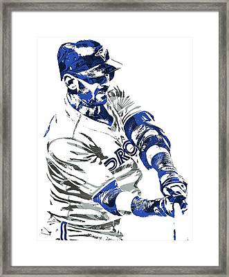 Framed Print featuring the mixed media Jose Bautista Toronto Blue Jays Pixel Art by Joe Hamilton