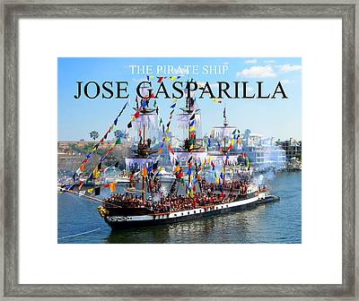 Jose Gasparilla Pirate Ship Fc Work Framed Print by David Lee Thompson