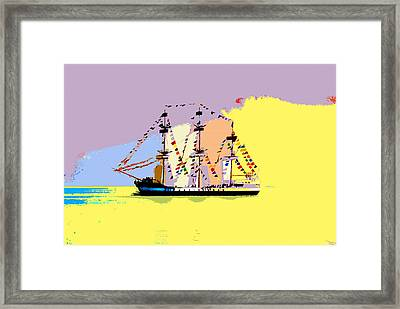 Framed Print featuring the painting Jose Gasparilla Sailing Colorful Tampa Bay by David Lee Thompson