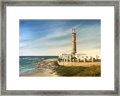 Framed Print featuring the painting Jose Ignacio Lighthouse Evening by Natalia Tejera