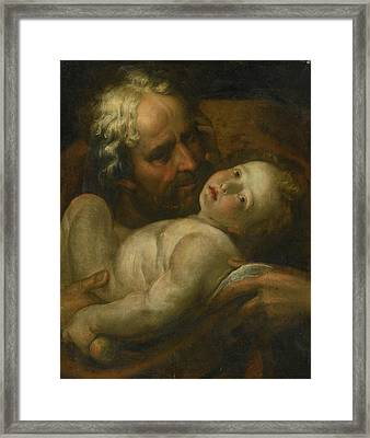 Joseph And The Infant Christ Framed Print by MotionAge Designs
