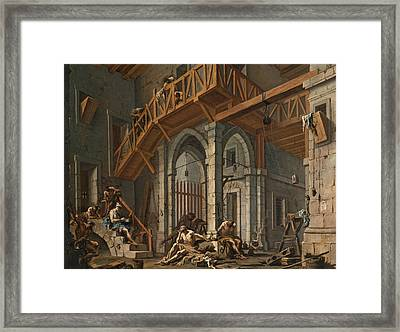 Framed Print featuring the painting Joseph Interprets The Dreams Of The Pharaoh's Servants Whilts In Jail by Alessandro Magnasco