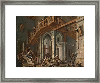 Joseph Interprets The Dreams Of The Pharaoh's Servants Whilts In Jail Framed Print by Alessandro Magnasco