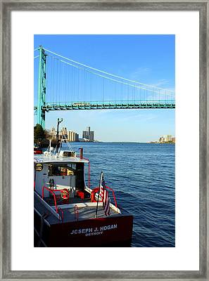 Joseph J Hogan Mail Boat To Freighters On Detroit River Framed Print by Anita Hiltz