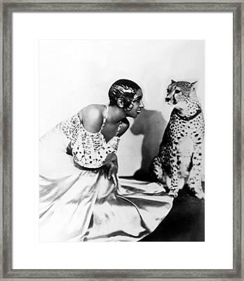 Josephine Baker And Her Cheetah Framed Print by Everett