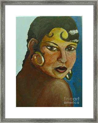 Framed Print featuring the painting Josephine Baker by Saundra Johnson