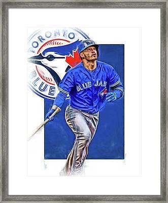 Josh Donaldson Toronto Blue Jays Oil Art Framed Print by Joe Hamilton
