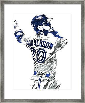 Framed Print featuring the mixed media Josh Donaldson Toronto Blue Jays Pixel Art by Joe Hamilton