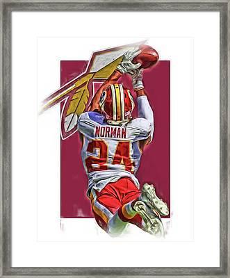 Josh Norman Washington Redskins Oil Art Framed Print by Joe Hamilton