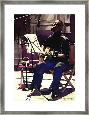 Josh White Singing The Blues Framed Print by David Lloyd Glover