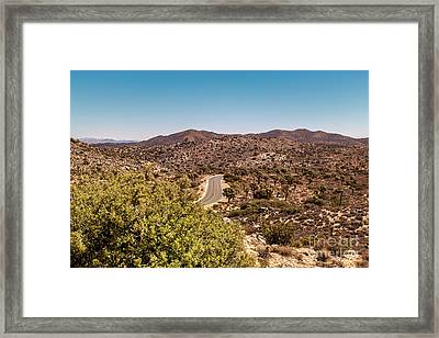 Joshua Tree Mountains And Curvy Road Framed Print