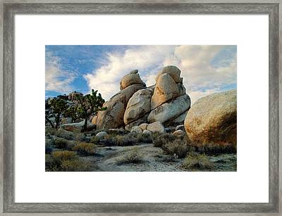 Joshua Tree Rock Formations At Dusk  Framed Print