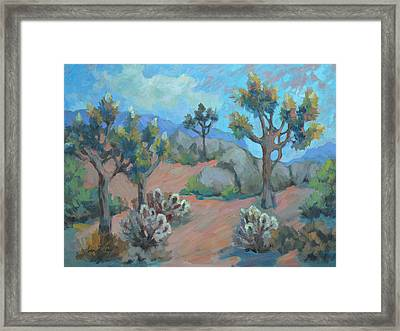 Joshua Trees And Cholla Cactus Framed Print