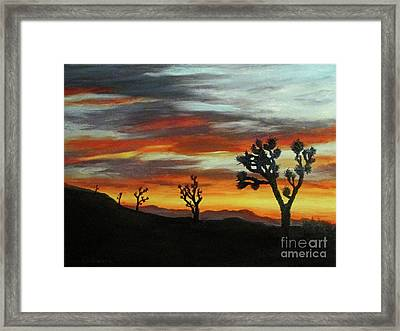 Joshua Trees At Sunset Framed Print