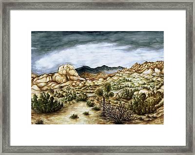 California Desert Landscape - Watercolor Art Framed Print by Art America Gallery Peter Potter