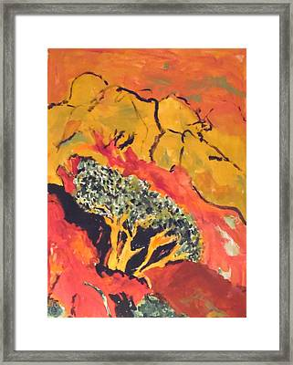 Framed Print featuring the painting Joshua Trees In The Negev by Esther Newman-Cohen