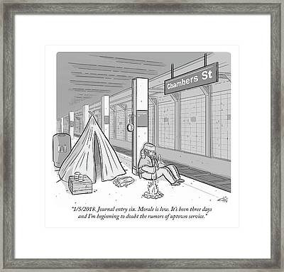 Journal Entry Six Morale Is Low Framed Print