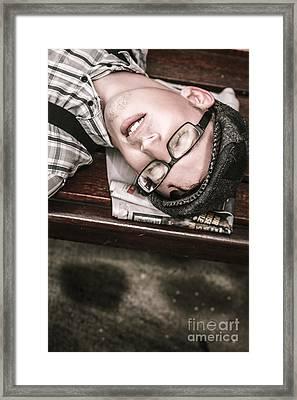 Journalist Asleep On The Job Framed Print by Jorgo Photography - Wall Art Gallery