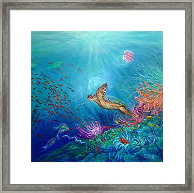 Journey Of The Greenback Turtle Framed Print by Janet Silkoff