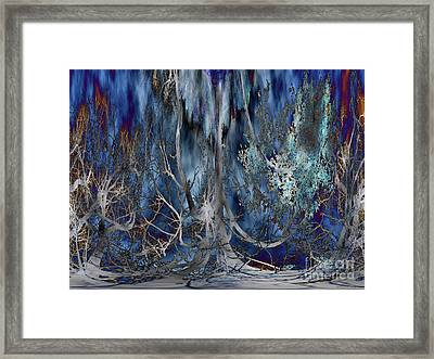 Journey Of The Willow - Abstract Blue/silver Tree  Framed Print