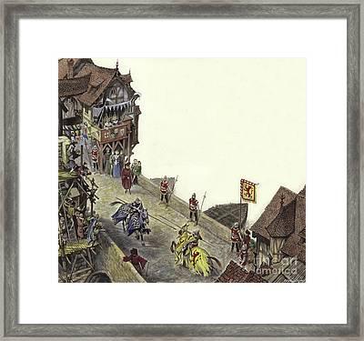 Joust On Old London Bridge On 23 April 1390  Framed Print