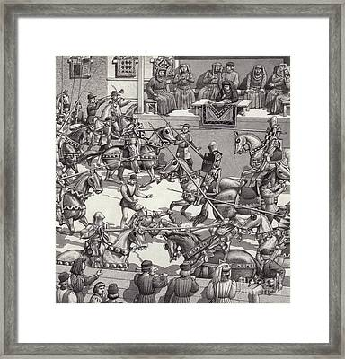 Jousting In Florence In The 15th Century Framed Print by Pat Nicolle