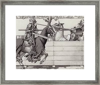Jousting Knights Framed Print by Pat Nicolle