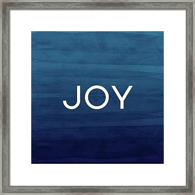 Joy Blue- Art By Linda Woods Framed Print