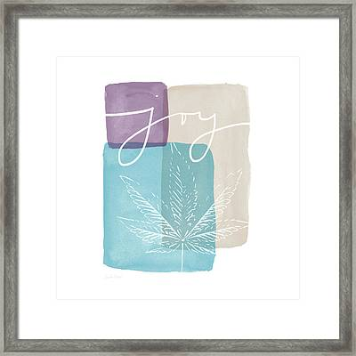 Joy Cannabis Leaf Watercolor- Art By Linda Woods Framed Print