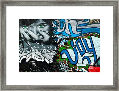 Framed Print featuring the painting Joy Graffiti Wall  by Yurix Sardinelly