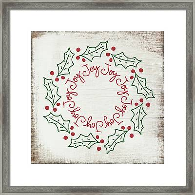 Joy Holly Wreath- Art By Linda Woods Framed Print