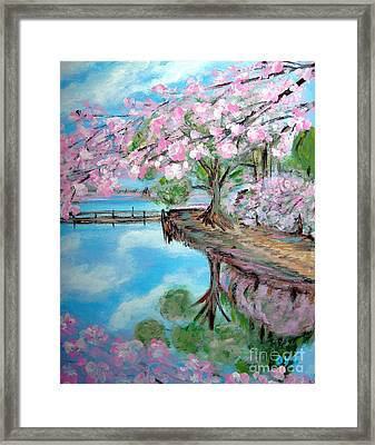 Joy Of Spring. Acrylic Painting For Sale Framed Print