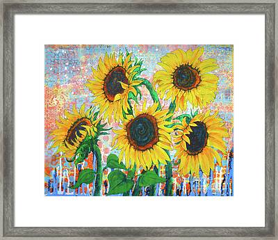 Joy Of Sunflowers Desiring Framed Print