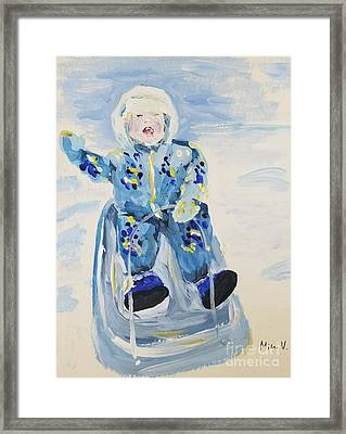 Framed Print featuring the painting Joy Ride by Maria Langgle