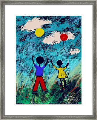 Framed Print featuring the digital art Joy Unfettered by Elaine Lanoue