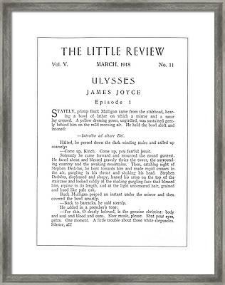 Joyce: Ulysses, 1918 Framed Print by Granger