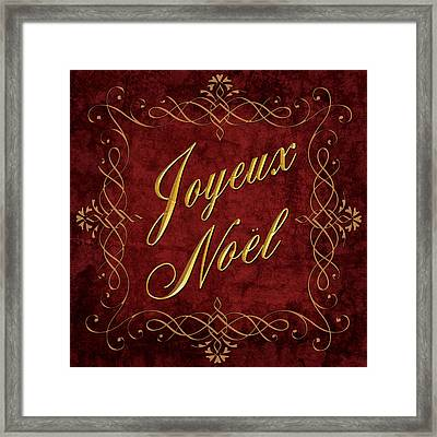 Framed Print featuring the digital art Joyeux Noel In Red And Gold by Caitlyn  Grasso