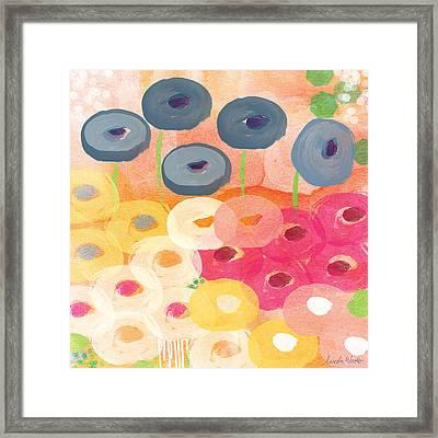 Joyful Garden 3 Framed Print by Linda Woods