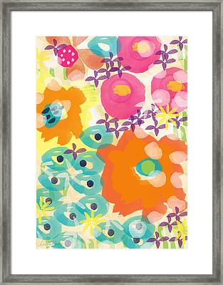 Joyful Garden Framed Print by Linda Woods