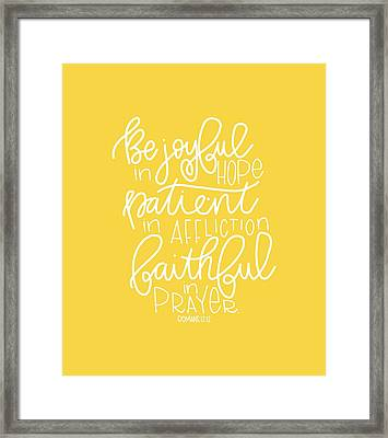 Joyful In Hope Framed Print