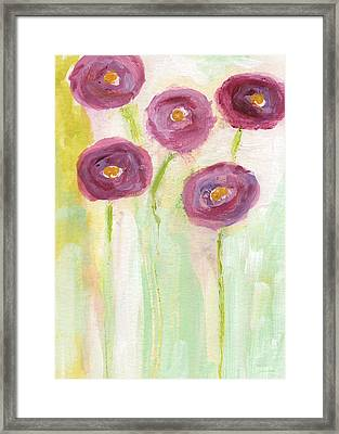 Joyful Poppies- Abstract Floral Art Framed Print by Linda Woods