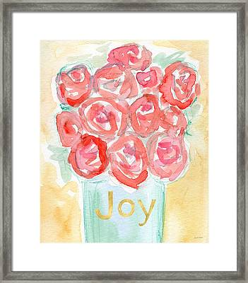 Joyful Roses- Art By Linda Woods Framed Print by Linda Woods