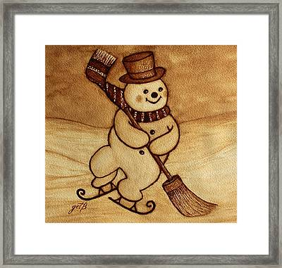 Joyful Snowman  Coffee Paintings Framed Print