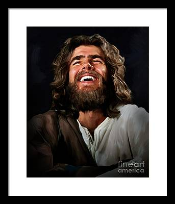 Laughing Jesus Framed Prints