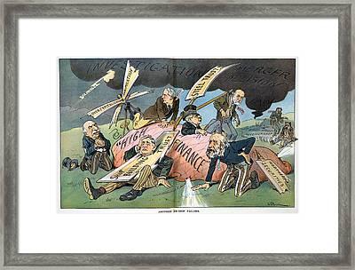 J.p. Morgan. Political Cartoon Framed Print by Everett
